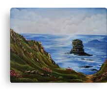 Kilkee Cliffs with Sea Pinks - Oil painting Canvas Print