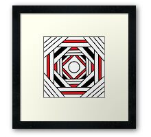 Square modern red-white-black pattern (mandala) Framed Print