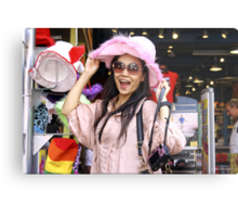 Vivi in the Pink Hat Metal Print
