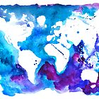 Watercolor Map of the World by Anastasiia Kucherenko