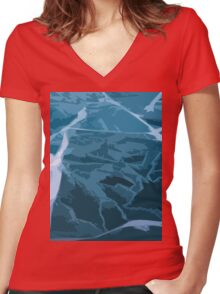 Scattered Ice Women's Fitted V-Neck T-Shirt