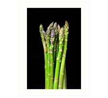 Green asparagus on black Art Print
