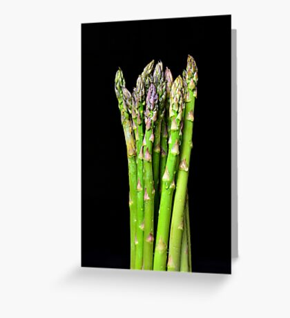 Green asparagus on black Greeting Card