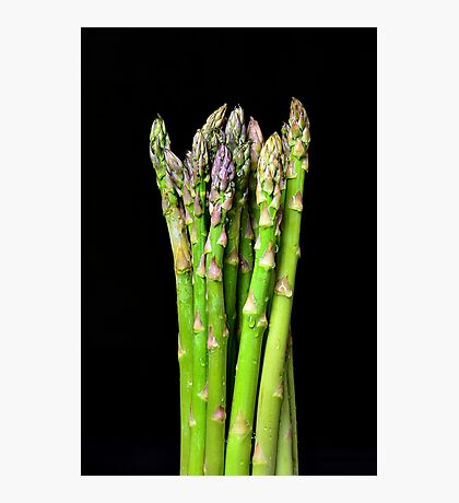 Green asparagus on black Photographic Print