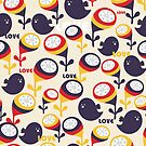 Retro birds with love. by Ekaterina Panova
