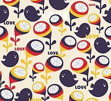 Retro birds with love. by Ekaterina Panova