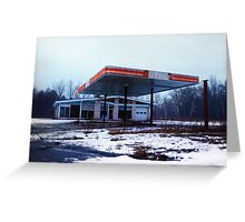 Dreary Day Gas Station Blues Greeting Card