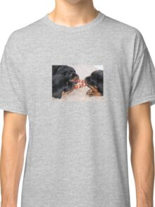 Three Rottweiler Puppies In A Tug Of War Classic T-Shirt