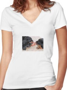 Three Rottweiler Puppies In A Tug Of War Women's Fitted V-Neck T-Shirt