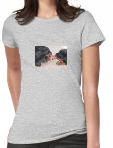 Three Rottweiler Puppies In A Tug Of War Womens Fitted T-Shirt