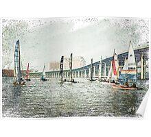 Sailboats Sketch Photo Poster