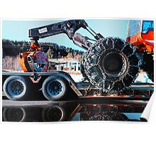 Grapple Skidder on a LowBoy Poster