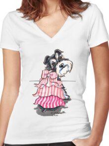 Girly Schnauzer Women's Fitted V-Neck T-Shirt