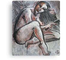 Woman Combing Her Hair Canvas Print