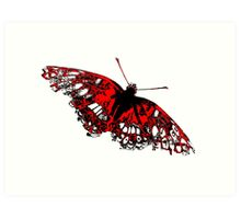 Butterfly - Black White And Red Series Art Print