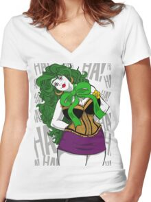 BBW Clown in Corset Women's Fitted V-Neck T-Shirt