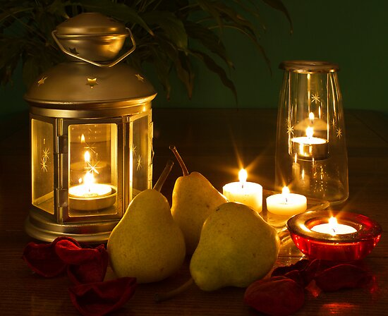 Pears by candle light by Andrew Jeffries