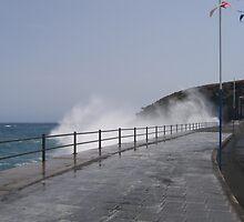 Spray Splashing over Promenade by Avril Harris