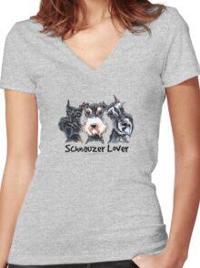 Schnauzer Lover Women's Fitted V-Neck T-Shirt