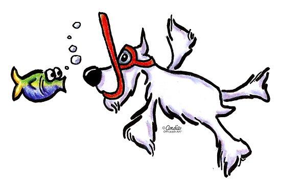 White Schnauzer Snorkel Buddy by offleashart