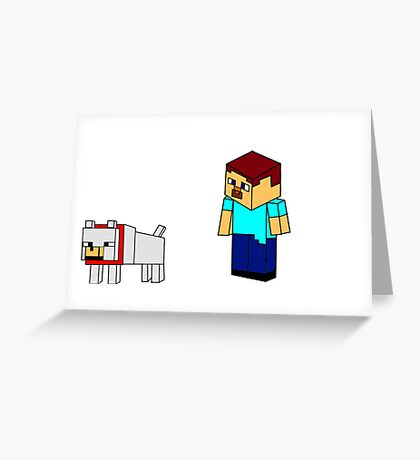Minecraft Steve And His Wolf Greeting Card