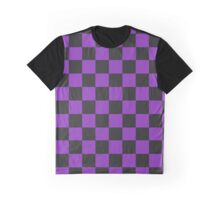 Puple and Black Checkered Pattern Graphic T-Shirt