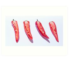 sliced Red Hot Chillies Art Print