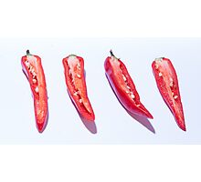 sliced Red Hot Chillies Photographic Print