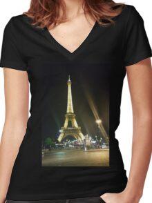 France, Paris, Eiffel tower, Women's Fitted V-Neck T-Shirt