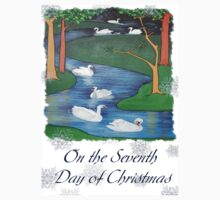 Snowflakes and Swans The Seventh Day of Christmas One Piece - Short Sleeve