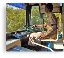 driving a bus bare feet Canvas Print