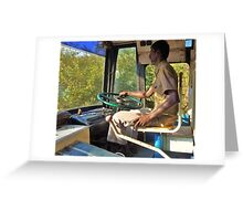 driving a bus bare feet Greeting Card