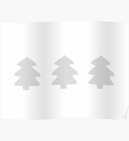 Silver Christmas Trees Pattern Poster