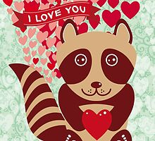 cartoon raccoon. I love You.  by EkaterinaP