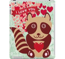 cartoon raccoon. I love You.  iPad Case/Skin