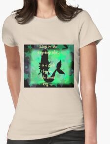 mermaid in dark lagoon design Womens Fitted T-Shirt