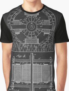 Tesla Coil Patent Art Graphic T-Shirt