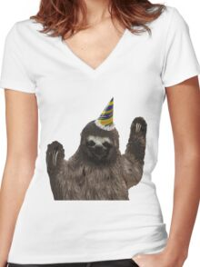 Party Animal - Sloth Women's Fitted V-Neck T-Shirt