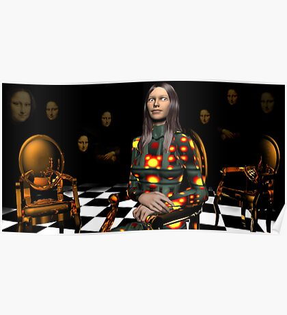 A Slightly Maniacal Modern Mona Lisa Poster