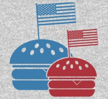 4th July American Burgers One Piece - Long Sleeve