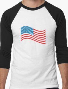 American Flag Wave Men's Baseball ¾ T-Shirt