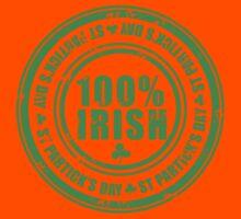 St Patricks Day 100% Irish Stamp Kids Clothes
