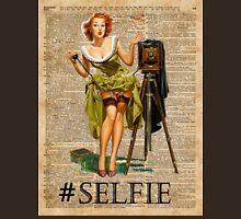 Pin Up Girl Making #selfie Vintage Dictionary Art Unisex T-Shirt