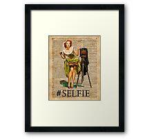 Pin Up Girl Making #selfie Vintage Dictionary Art Framed Print