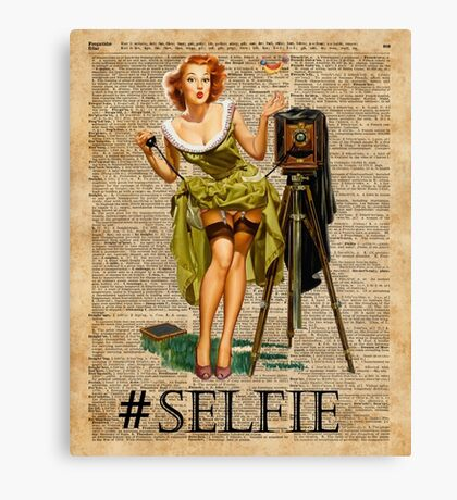 Pin Up Girl Making #selfie Vintage Dictionary Art Canvas Print