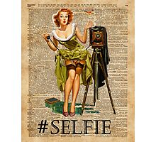 Pin Up Girl Making #selfie Vintage Dictionary Art Photographic Print