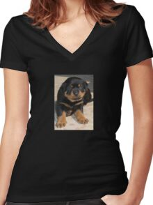 Rottweiler Puppy With Perplexed Facial Expression Women's Fitted V-Neck T-Shirt