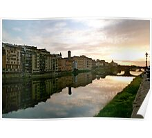 Sun setting on the Arno in Florence Poster