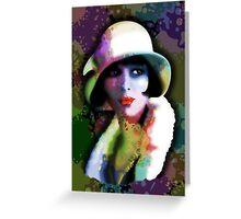 Girl's Twenties Vintage Glamour Art Portrait Greeting Card