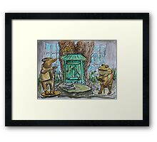 Watercolor Sketch - Toad's Book Club Statues. Mountain View Library 2013 Framed Print